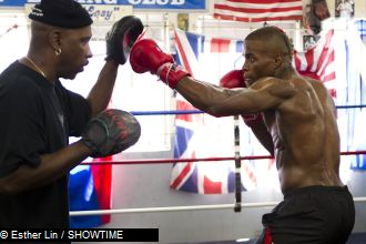 Peter Quillin working with trainer Eric Brown