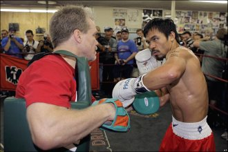 Fighter Of The Decade Manny Pacquiao Surprised Celebrated Trainer Fred Roach During A Regular Monday Workout At Pacman Wild Card Gym In S